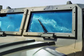 Closeup jeep glass — Stock Photo