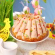 Easter table decoration with  ring cake - Stock Photo