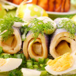 Herring rolls  for easter - Stock Photo