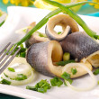 Herrings with chive  for easter - Stock Photo