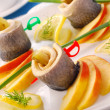 Herring rolls  with apple — Stock Photo