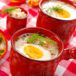 White borscht with horseradish — Stock Photo