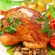 Roasted chicken stuffed with liver — Stock Photo