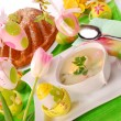 Stock Photo: White borscht and ring cake for easter