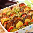 Stock Photo: Vegetables baked with cheese
