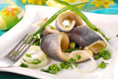 Herrings with chive for easter — Stock Photo