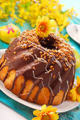 Chocolate ring cake for easter — Stok fotoğraf