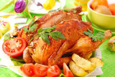 Roasted chicken stuffed with liver — Foto Stock