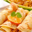 Rolled pancakes with cottage cheese — Stock Photo