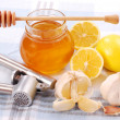 Stock Photo: Honey,garlic and lemon