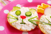 Breakfast with cottage cheese for child — Stock Photo