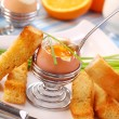 Breakfast with soft-boiled egg — Stockfoto