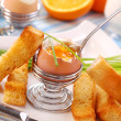 Breakfast with soft-boiled egg — Stock fotografie