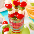 Shashlik with mozzarella — Stock Photo