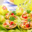 Stock Photo: Tunsalad in tartlets for easter
