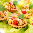 Tuna salad in tartlets for easter - Stock Photo