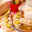Bread with lard and gherkin — Stock Photo