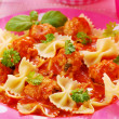 Ribbon pasta with meat balls — Stock fotografie