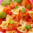 Ribbon pasta with meat balls — Stock Photo
