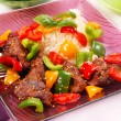 Fried liver with paprika and sesame — Stock Photo