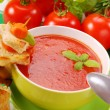 Tomato cream soup with croutons - Stock Photo