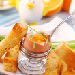 Stock Photo: Breakfast with soft-boiled egg