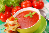 Tomato cream soup with croutons — Stockfoto