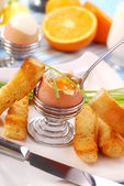 Breakfast with soft-boiled egg — 图库照片