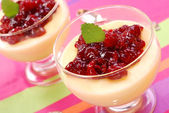 Dessert with cherry confiture — Stok fotoğraf