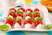 Shashlik with mozzarella — Stock Photo
