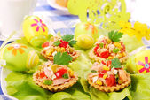 Tuna salad in tartlets for easter — Stock Photo