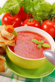 Tomato cream soup with croutons — Stok fotoğraf