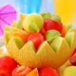 Stock Photo: Fruits salad in melon bowl