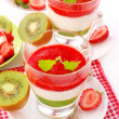 Stock Photo: Strawberry and kiwi mousse with yogurt