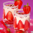 Strawberry and vanilla dessert — Stock Photo
