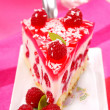 Cheese cake with jelly and raspberry — Stock Photo