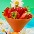 Fresh strawberries in bowl — Stock Photo