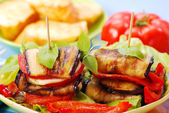 Grilled aubergine with cheese — Stock Photo