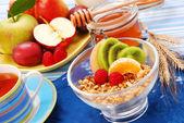 Diyet kahvaltı olarak meyve ile müsli — Stok fotoğraf