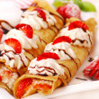 Stock Photo: Pancakes with cheese,cream ,strawberry