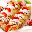Pancakes with cheese,cream ,strawberry — Stock Photo