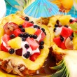 Fruits salad in pineapple — Stock Photo