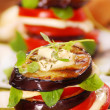 Grilled aubergine,tomato and mozzarella - Stock Photo