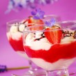 Stock Photo: Dessert with strawberry mousse and cream