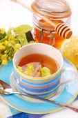 Linden tea with honey — Stock Photo