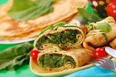 Pancakes with spinach — Stockfoto