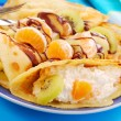 Pancakes with fruits and cottage cheese — Stock Photo