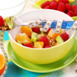 Muesli with fresh fruits as diet food - Stock Photo
