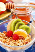 Muesli with fruits as diet breakfast — Stock Photo