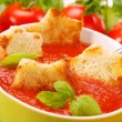 Tomato cream soup with croutons — Stock Photo